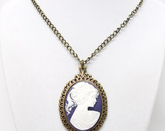 Large Purple and White Cameo Pendant on Antique Bronze Pendant Necklace