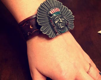 Tribal Tooled Leather Cuff