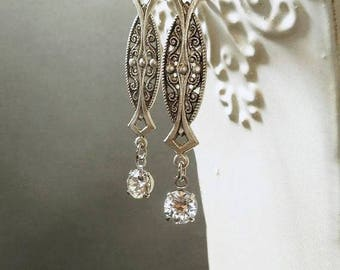 Art Deco Wedding Earrings - Art Deco Jewelry - 1920s Jewelry -  Jewelry for Bride - Downton Abbey Style Jewelry - Womens Jewelry
