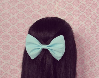 Pastel Blue Hair Bow on a French Barrette - Perfect Gift for Her