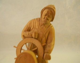 Caron - Vintage Wood Carving Sculpture by Quebec Artist