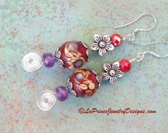 Drop Down Maroon Color Garnet Amethyst Painted Glass Bohemian Flower Style Sterling Silver Long and Dangly Earrings with Swirl Wire Design