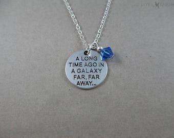 Star Wars - A Long Time Ago, In a Galaxy Far, Far Away - Charm Necklace - Silver Charm