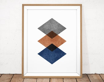 Abstract Printable, Copper Wall Art, Navy Print, Geometric Wall Art, Minimalist Poster, Scandinavian Design, Copper Print, Modern Printable