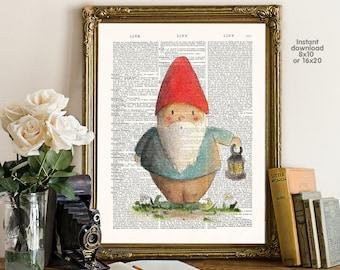 Christmas decor - Xmas decor - Adorable gnome Poster -  Wall art, Poster Dictionary art, Dictionary Art - Print Wall Decor, Nursery Wall Art