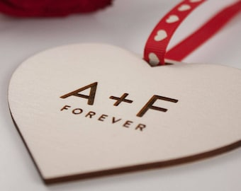 INITIALS Forever Love Heart Gift // Laser Cut and Engraved Plywood // Valentines Day