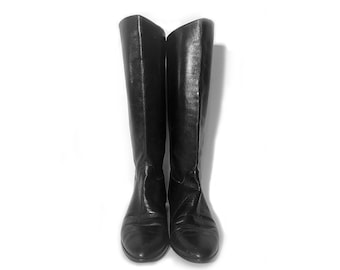 Vintage 80's Black Leather Riding Boots 8M