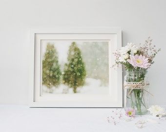 Nature Photography - Winter landscape photography nature trees snow abstract surreal photography green blur bokeh photo nature home decor