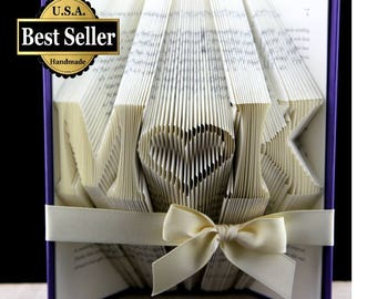 First Anniversary Gift, Anniversary Gift For Him, Paper Anniversary, Monogram Initials, Anniversary Gift For him, Folded Book Art Sculpture