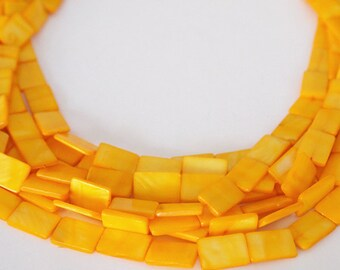 Strand Mother Of Pearl Flat Rectangle Shell Beads Mango Orange Size 14 x 10mm QTY approx 26 beads