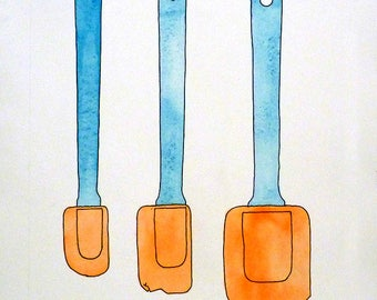 Funny Kitchen Art, Pen drawing, Spatula art, Cottage chic, Kitchen wall decor, Aqua Painting, Orange painting, Original watercolor, Sale