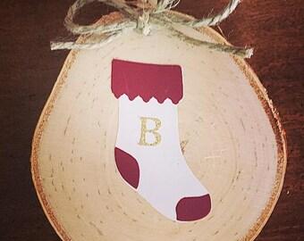 Custom initial stocking ornament