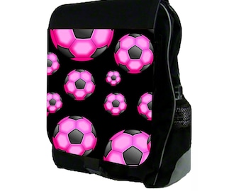 Pink and Black Soccer Balls Large Black School Backpack
