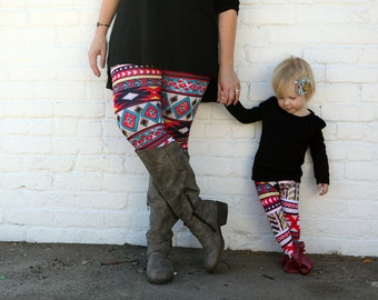 Mom and me leggings for photo shoot props, mommy and me outfits,matching outfits, mom and baby,mommy and mini, aztec mommy and baby set
