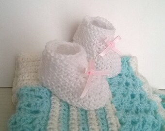 White with Pink Ribbon satin hand-knitted wool baby booties