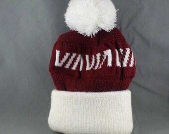Vintage Railraod Toque / Wool Hat - VIA Rail Canada - Burgandy and White Colours