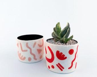 Pink Speckled Shape Pot