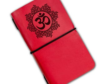 Om engraved notebook with elastic band personalize notebook travel notebook handmade notebook blank pages leather notebook
