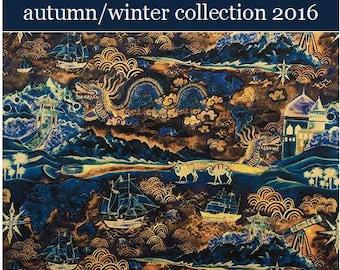 "2016: Atlas C Liberty Fabric Tana Lawn 10"" x 10"" square (25,4 cm x 25,4 cm) dark blue sand ship sea dessert The Weavers Mill"
