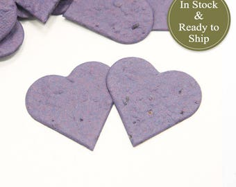 Plum Plantable Seed Paper Confetti Hearts - READY-TO-SHIP - Wedding Favors, Bridal Shower Favors, Baby Shower Favors, Plum Party Favors
