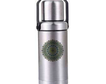 Mandala Thermos - White Elephant Gift - Christmas Gag Gift - Holiday Gift Exchange - Stocking Stuffer - Office Party Gift - 14 Oz Thermos