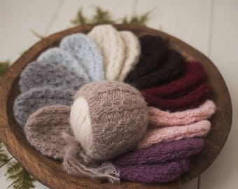 Newborn Cable Knit Brushed Alpaca Soft Bonnet Photography Prop