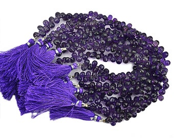 Amethyst Teardrops Beads 5x4mm Faceted Briolette Drops Beads 8 Inch Full Strand GemMartUSA (DRAM-70027)