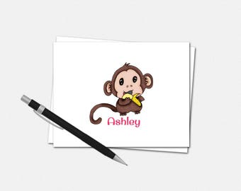Baby Monkey Note Card Set - Folded Note Cards - Custom Notecards | personalized stationery gifts kids girls animals