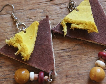 Recycled Leather Boho Earrings