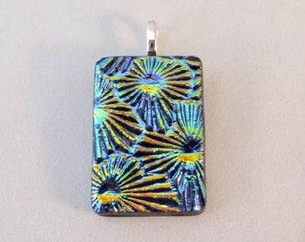 Multi Colored Dichroic Fused Glass Pendant, Fused Glass, Fused Glass Pendant, Glass Pendant, Dichroic Pendant, Dichroic, Colorful