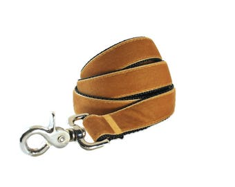 Velvet Dog Leash, Gold Dog Leash, Amber Velvet Lead, 5 foot, Dog Lead, Gold Velvet Leash, Gold Leash
