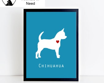 Chihuahua Dog Printable Wall Art - Modern and Clean Chihuahua Puppy Dog Decor- Custom Background Color - 8x10