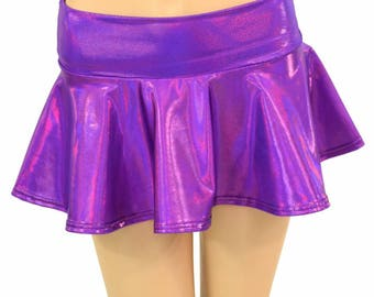 Purple Holographic Metallic Circle Cut Mini Skirt Rave Clubwear EDM  -150201