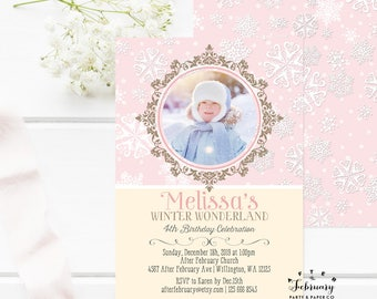 ANY AGE // Winter Wonderland Photo Birthday Invitation Girl Winter Birthday Invitation Digital Printable OR Printed No.673KIDS