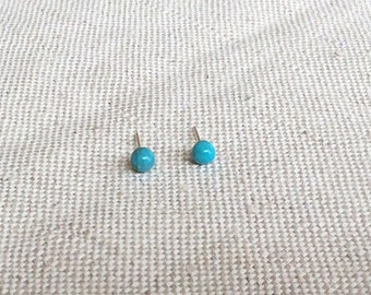 Sterling Silver Turquoise Stud Earrings, Tiny Turquoise Stud Earring, Small Turquoise Stud Earrings, 4mm Turquoise Stud Earrings, GSE12