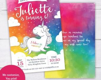 Unicorn Invitation, Unicorn Rainbow Invite, Magical Rainbow Unicorn Party Invite, Rainbow Unicorn