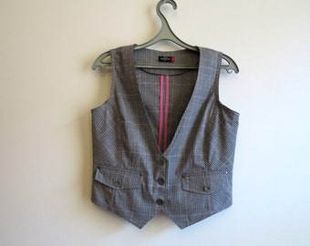Brown Plaid Womens Vest Steampunk Checkered Waistcoat Size M