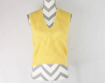 Vintage Leslie Fay Yellow Sweater Vest Made in USA