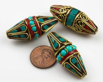 Tibetan Beads- Cone Marquee- Turquoise and Coral on brass Inlays