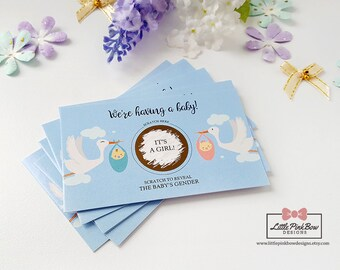 10 Baby Gender Reveal Scratch Off Cards, Baby Shower Games, Baby Gender Reveal Scratch-Off, We're Having a Baby, Baby Gender Announcement