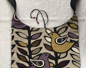 Unique Bohemian Avian Print Large Beaded Embellished Crossbody Bag