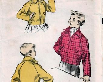 1950s Advance 6162 Vintage Sewing Pattern Boys Girls Sports Jacket, Casual Jacket, Short Jacket, Bomber Jacket Size 4