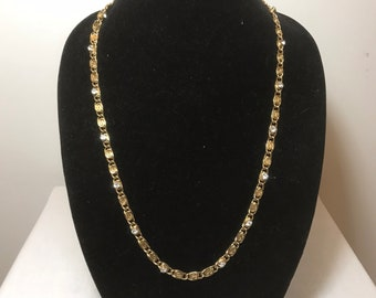 Kenneth Jay Lane Gold Chain Link Necklace with Set Stones