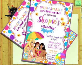 Barbie Invitation.Barbie Birthday.Barbie Pool Party.Barbie Pool Invitation.Barbie Card.Barbie Printable.Barbie Digital Download.Barbie-G7