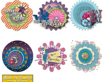 Stay Magical Scrapbooking Badges and Stickers
