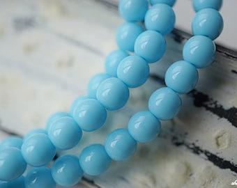 Light Blue Druks, Druk Beads, Czech Beads, D73