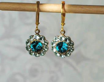 Chrysolite and Blue Zircon Swarovski Rhinestone Earrings, 18th century jewelry