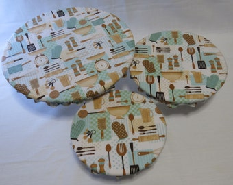 Green and Tan Cookware Print Lined Reusable Bowl Covers - Food Safe PUL, Cotton, Eco Friendly