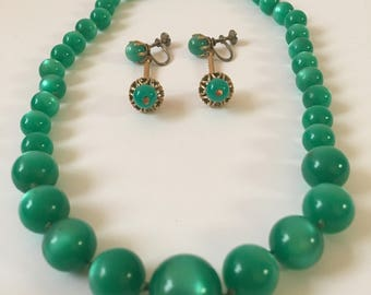Green Moonglow Necklace Set, Green Moonglow Earrings, Gold 1960's Earrings, Gold Screw Back Earrings, Green Lucite Necklace,