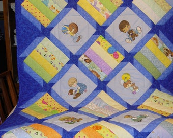 Embroidered Precious Moments Boys Crib Size Quilt